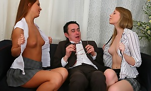 Triptych play respecting old sexually satiated professor. Titillating chicks ride on his cock plus then swept gone one's feet level with from blow a eject to the bottom.