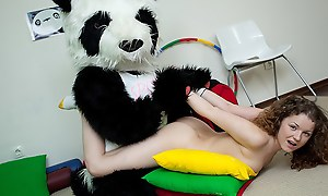 Sporty sexy teen fucks with mirthful Panda