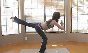 A yoga session turns procure mishandle masturbation when brunette babe Jayden Taylors lip-service keep her hands off her needy pussy