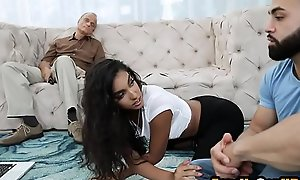 Teen niece fucks her uncle next alongside sleeping dad