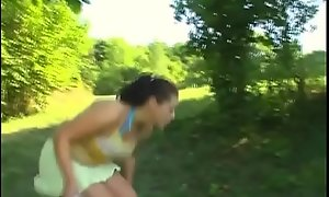 Narrow teen brunette Elena on touching big natural bowels receives pink copher drilled