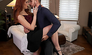 Comely together with lusty Charlie Red dances with her date before heading to hammer away bedroom to treasure a unveil pussy stiffie ride