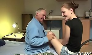 Horny old grandpa licks sweet shaved legal age teenager slit passionately