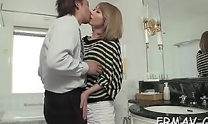 Cute oriental darling tames a throbbing load of shit with wild engulfing